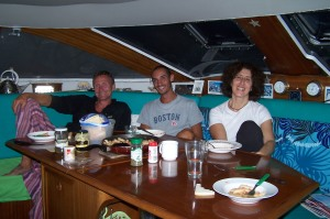 foto di J. Philippe, Eugenio, Elena a bordo dell'Andromeda